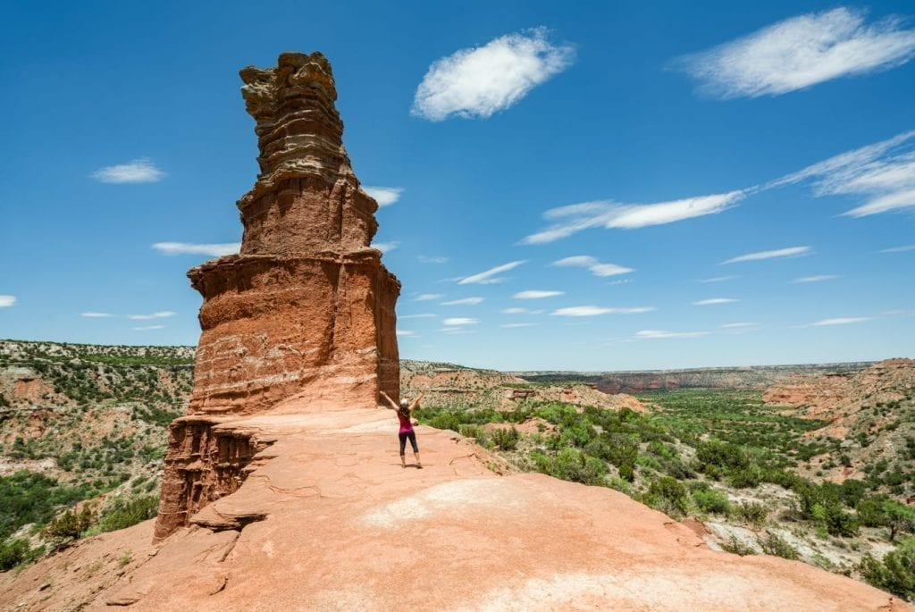 Kate Storm standing in front of the Lighthouse in Palo Duro Canyon State Park Texas