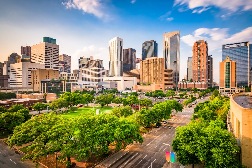 Houston Texas skyline on a sunny day. One of the most interesting facts about Texas is that Houston is one of the most diverse cities in the USA