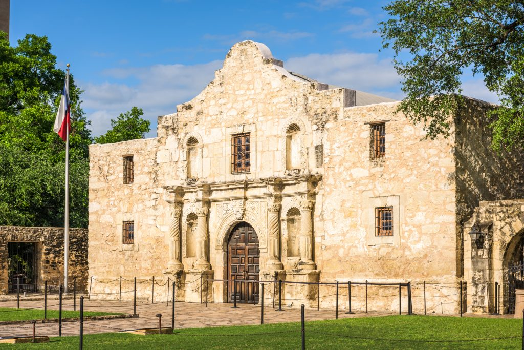 The front facade of the Alamo in San Antonio Texas as seen from the ridge side of the building