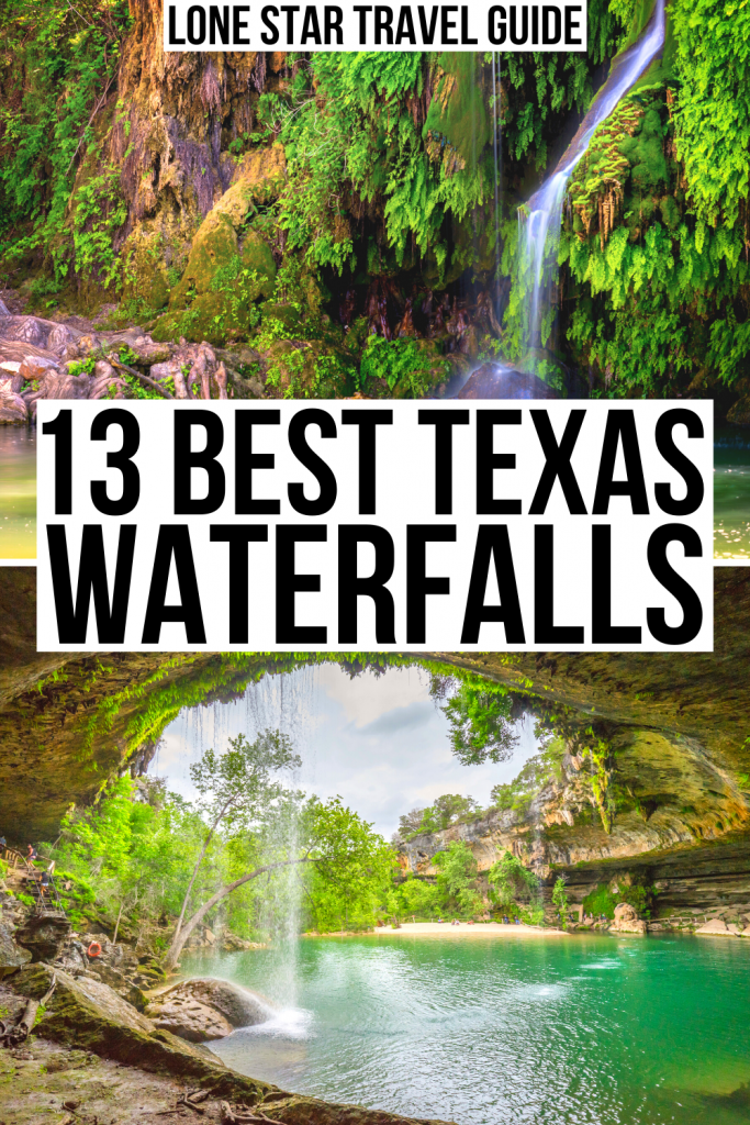 """2 photos: one of Krause Springs and one of Hamilton Pool Preserve. Black text on a white background reads """"13 best texas waterfalls"""""""