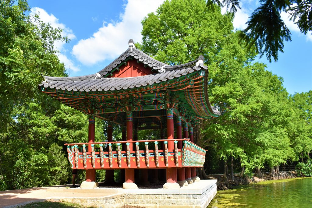 Colorful Korean pagoda at Denman Estate Park, one of the best san antonio photo spots