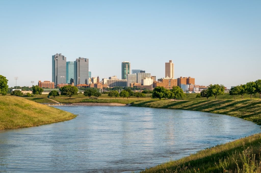 Trinity River in Fort Worth Texas with the skyline in the background