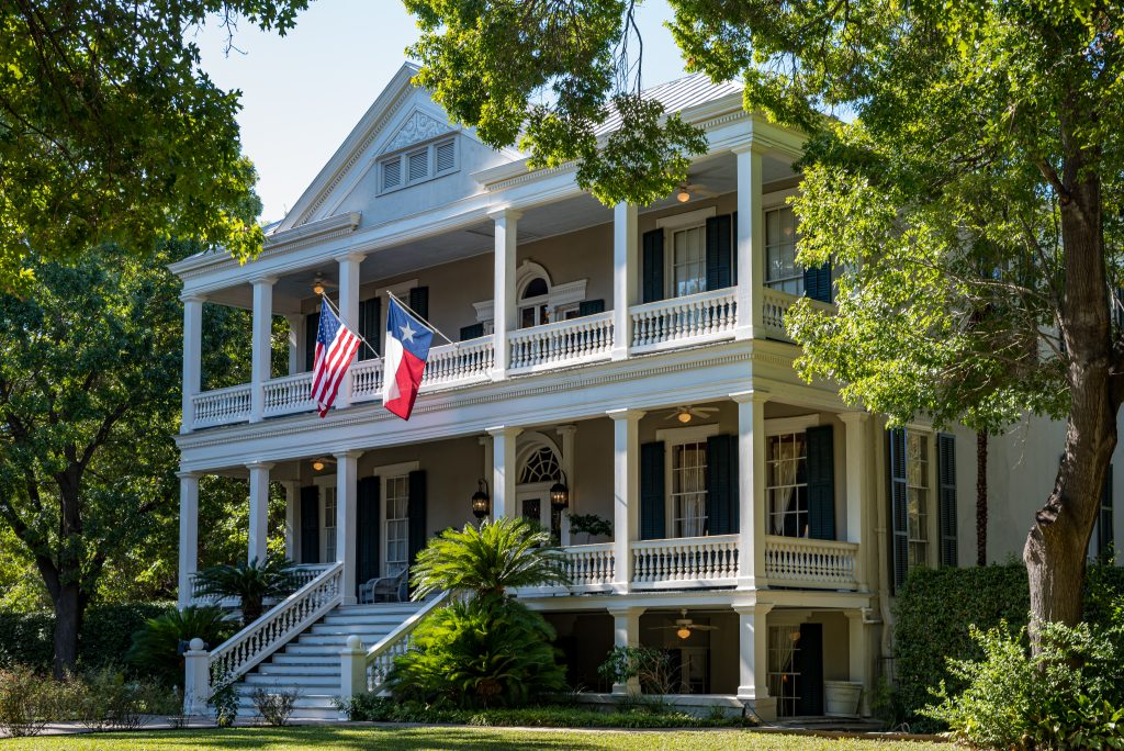 3 story white mansion in the King William Historic District, a must-see during a San Antonio weekend getaway