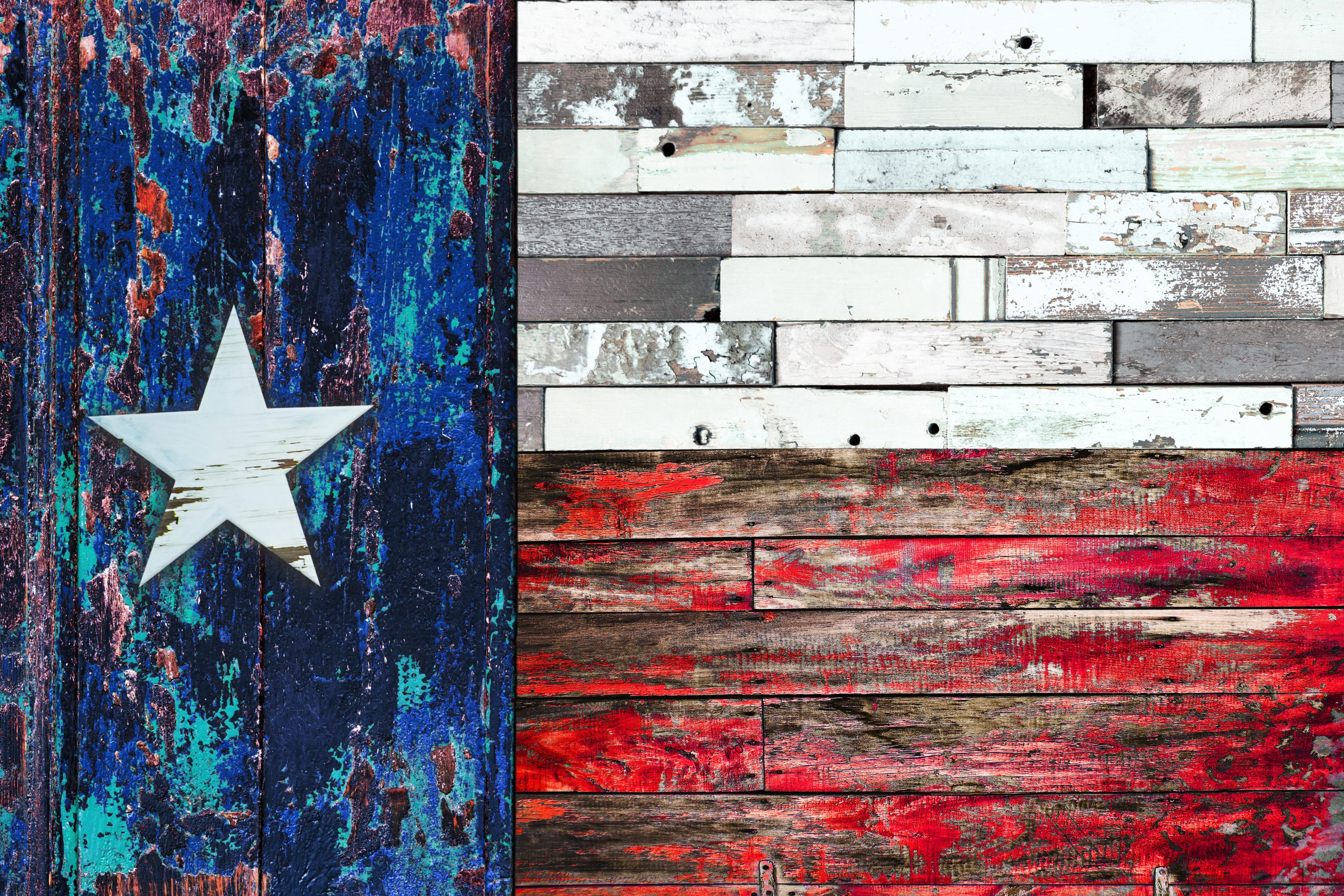 Texas flag created out of wooden planks and then painted. Original art is one of the best Texas souvenirs