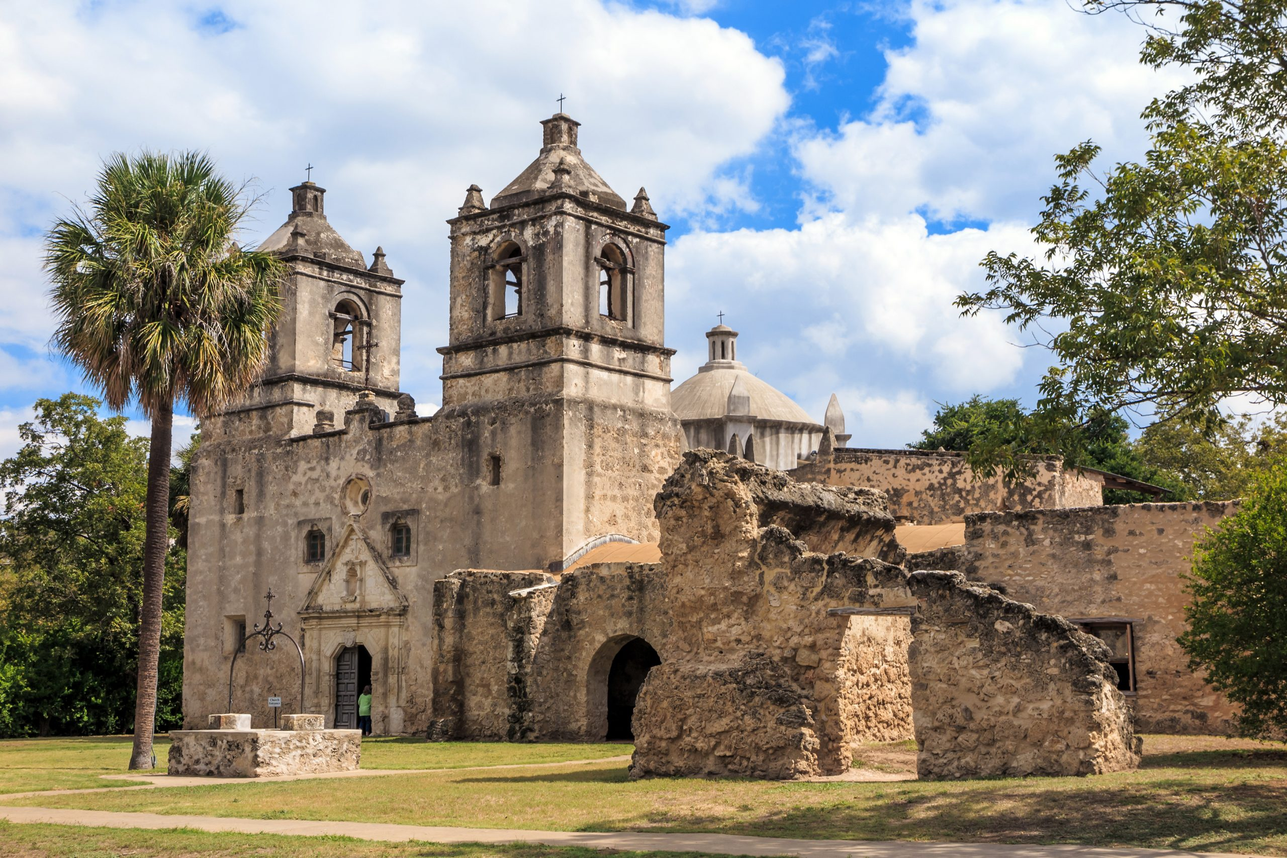 Exterior of Mission Concepion, one of the best photography locations in San Antonio TX