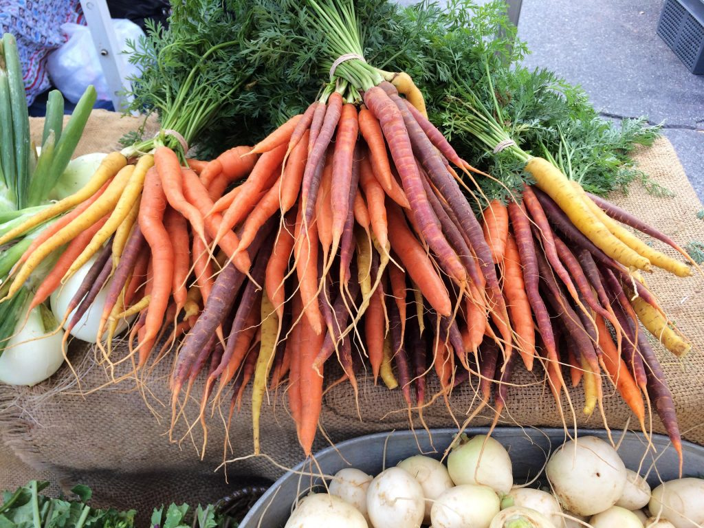 Bunches of carrots and onions at a farmers market