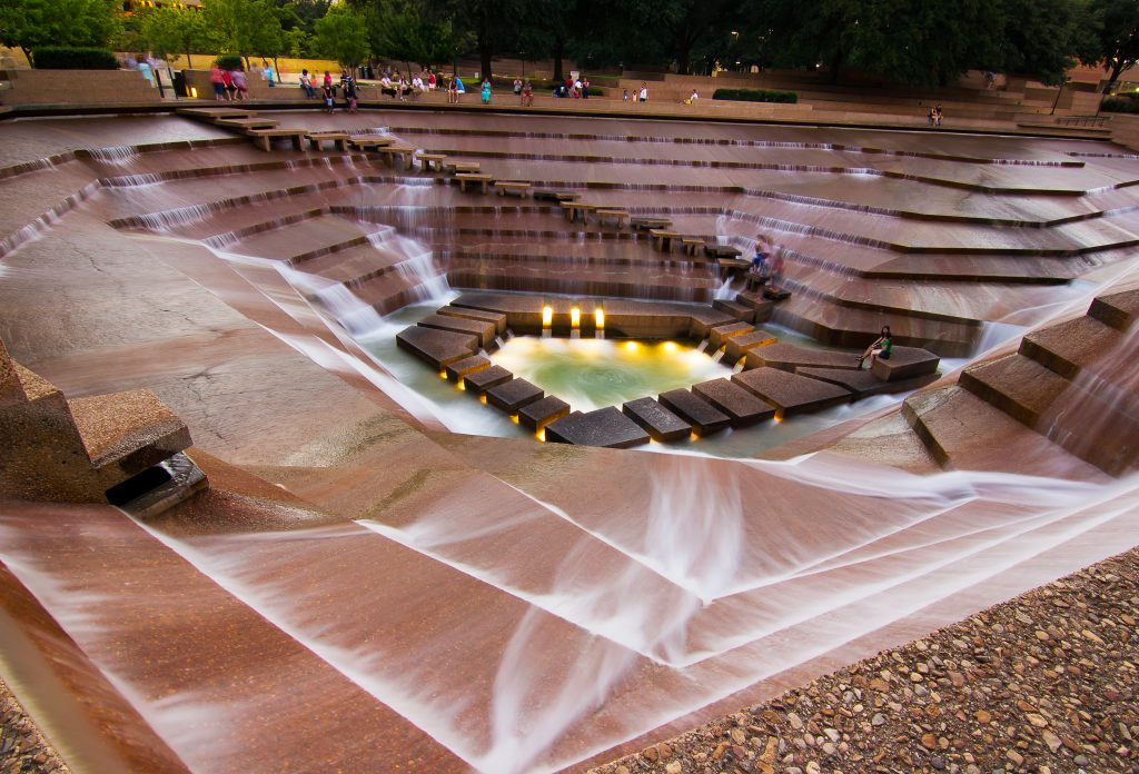 Close up of the Fort Worth water gardens, one of the best ft worth photography locations