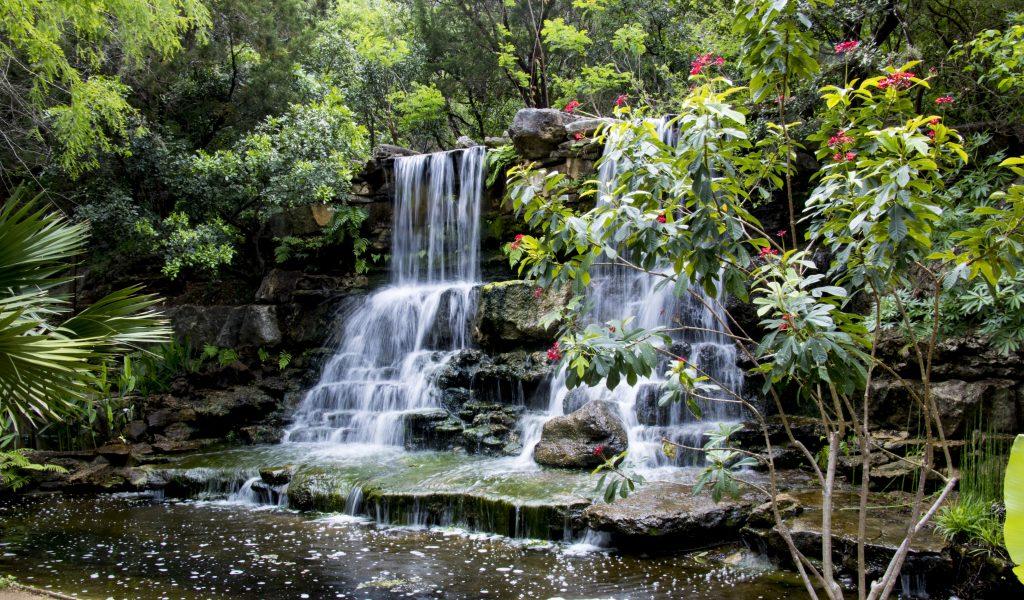 Waterfall in Zilker Botanical Garden in Austin