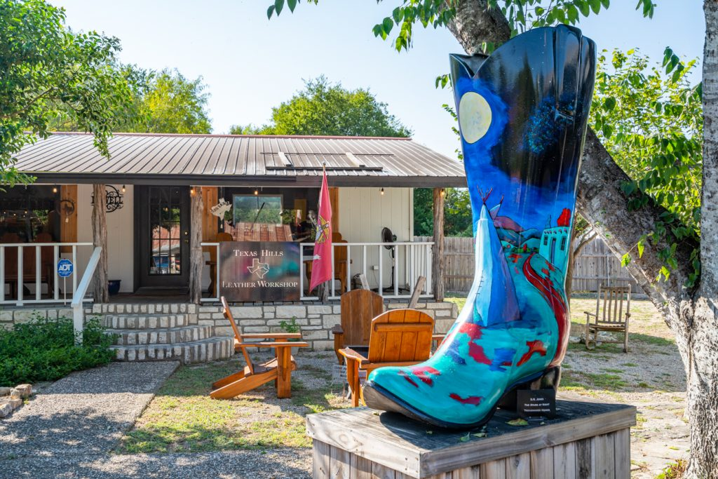 painted boot in downtown wimberley texas