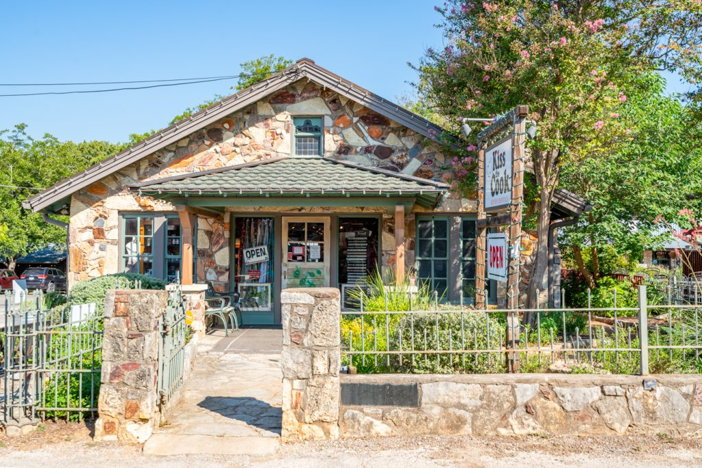 exterior of kiss the cook boutique, one of the best places to visit in wimberley texas
