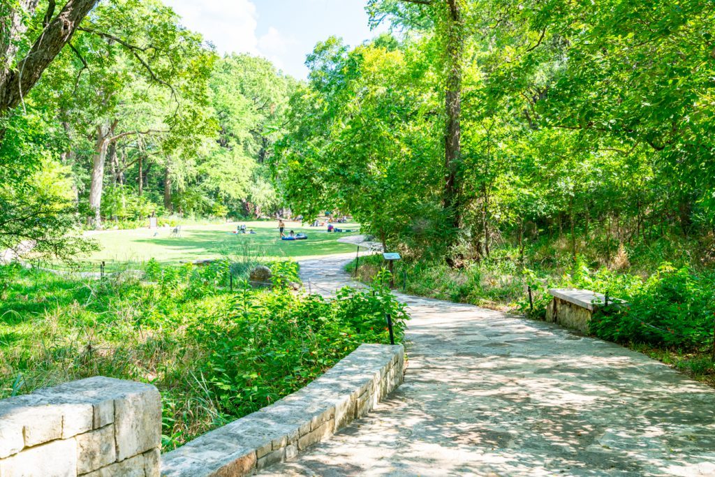 Path leading to the Wimberley Blue Hole, paved with limestone
