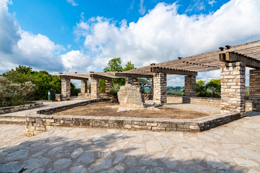 Pavilion visible after hiking Mount Bonnell staircase in Austin TX