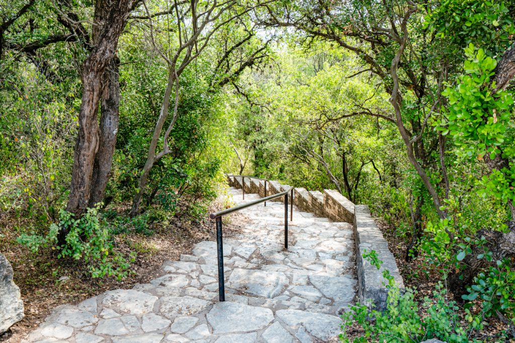 View of staircase leading to the top of Mount Bonnell Austin TX