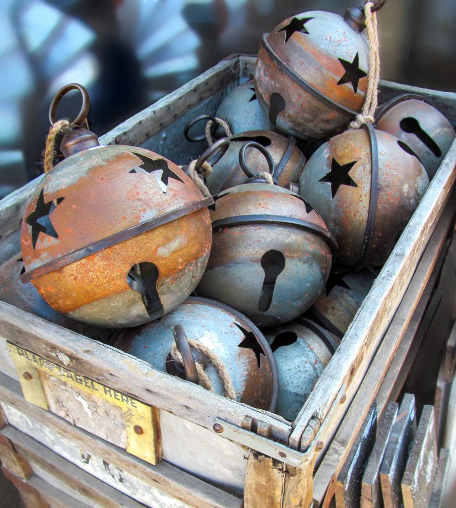 Vintage Christmas ornaments for sale at a flea market in Texas