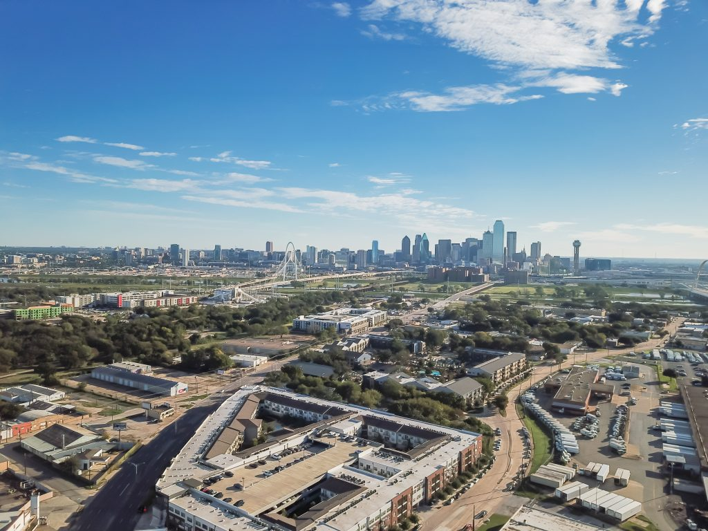 View of Dallas skyline from Trinity Groves, one of the best places to visit during a long weekend in dallas tx