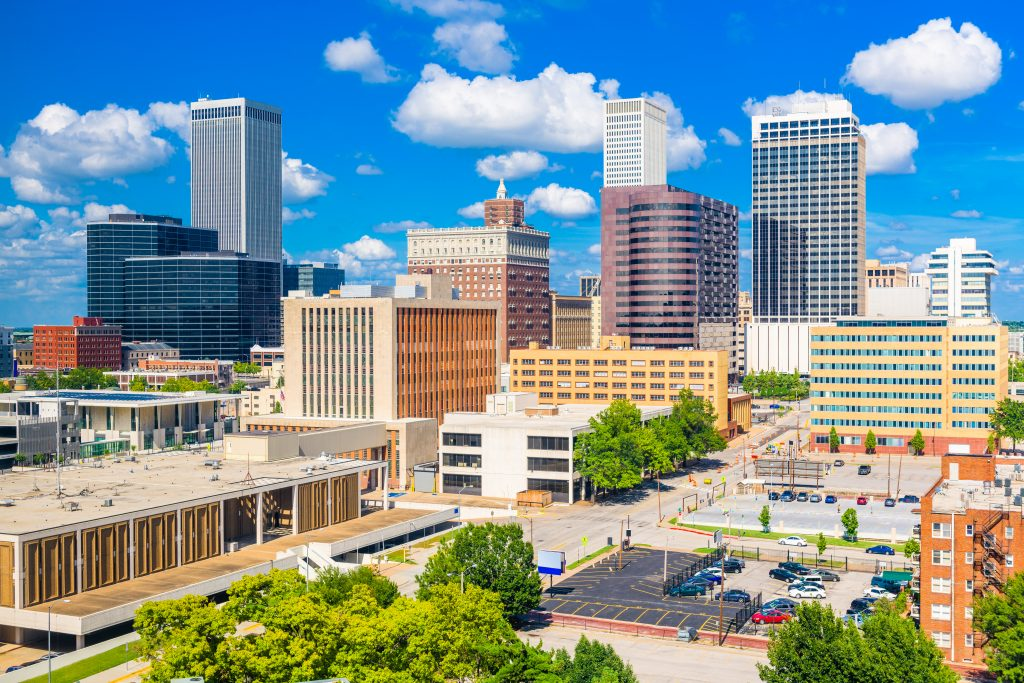 Tulsa Oklahoma skyline on a sunny day, one of the best dallas road trip ideas