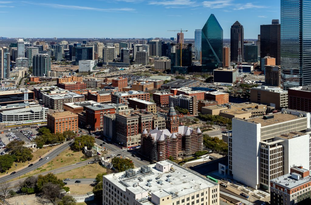 Historic West End of Dallas as seen from above. The West End is a great place have dinner during a weekend in Dallas itinerary