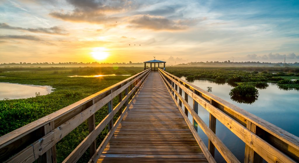 Boardwalk at sunset in Beaumont Texas, one of the best Houston day trip ideas