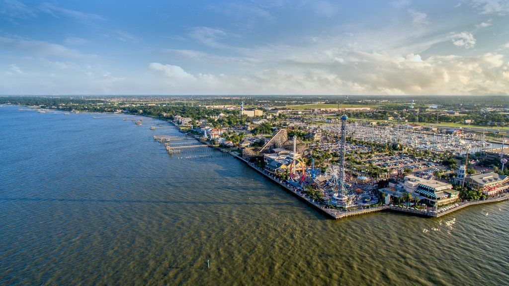 Aerial view of Kemah Boardwalk near Houston Texas