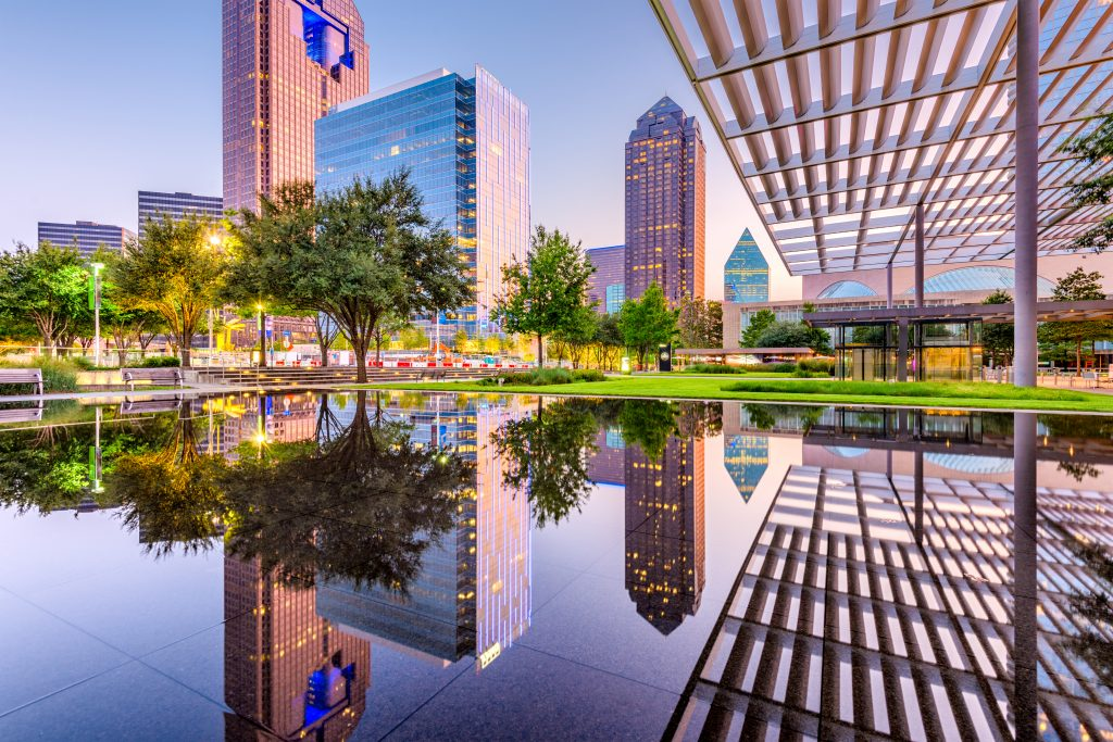 Reflective pool in downtown Dallas near sunset--you'll see plenty of spots like this when spending a long weekend in Dallas tx