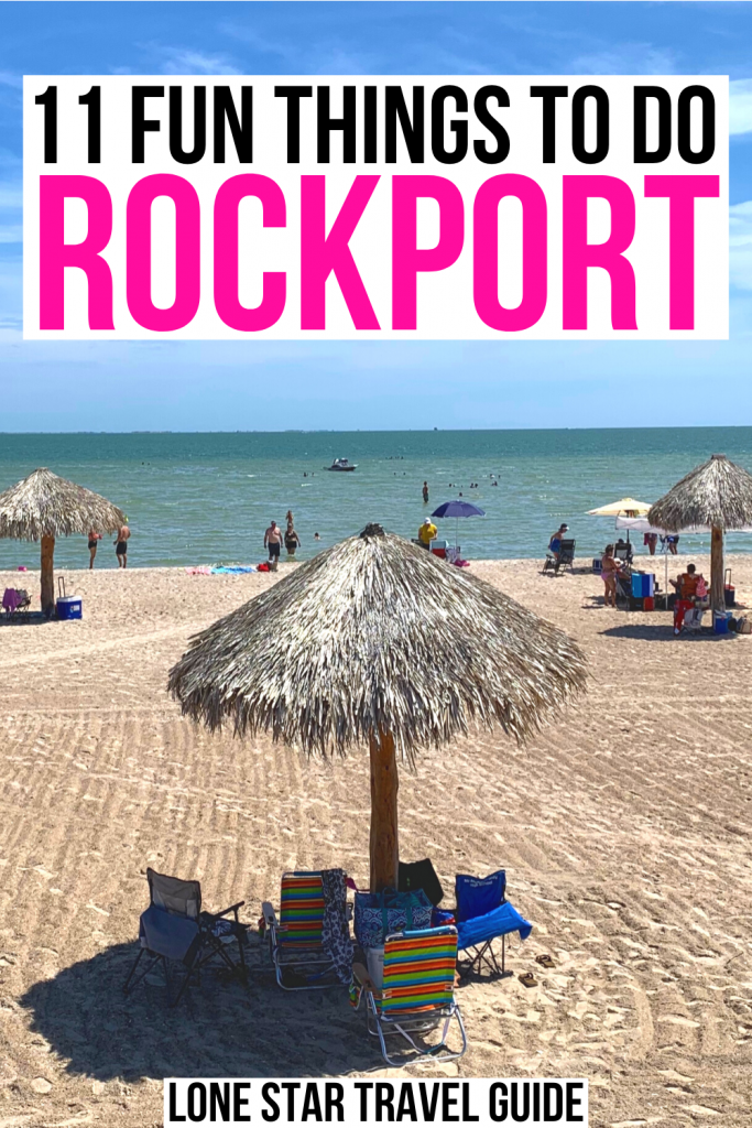 "photo of rockport beach with a cabana in the foreground, black and pink text on a white background reads ""11 fun things to do rockport"""