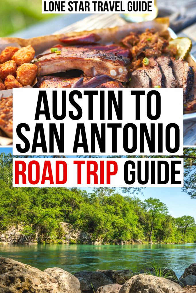 """two photos of texas, one of a tray of texas barbecue and the second of the guadalupe river. black and red text on a white background reads """"austin to san antonio road trip guide"""""""
