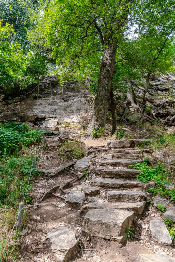 stone staircase as seen when hiking in colorado bend texas