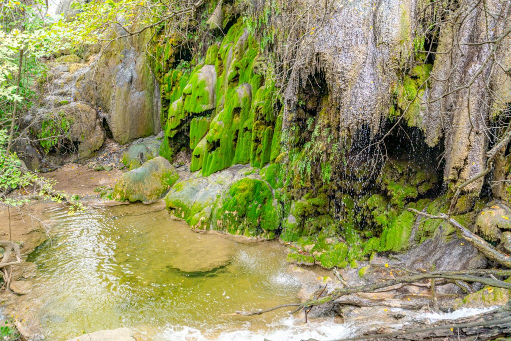 close up of small waterfall in colorado state park texas