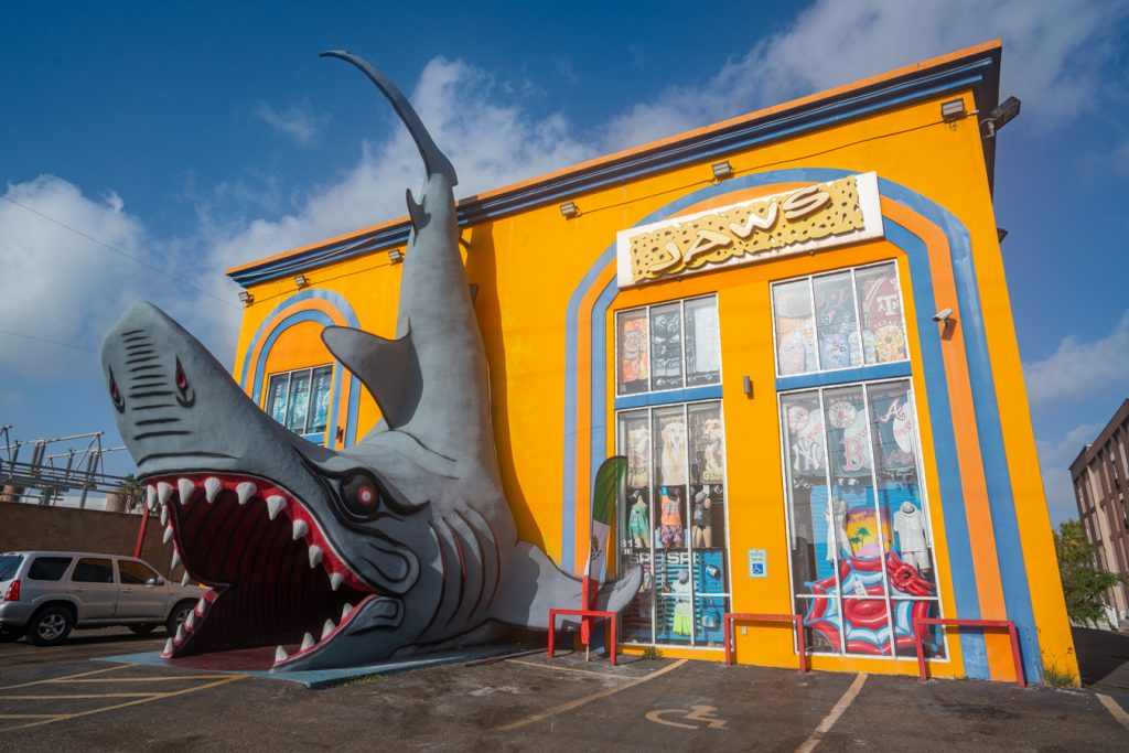 Jaws souvenir shop in South Padre, with the front doors located inside a giant shark statue