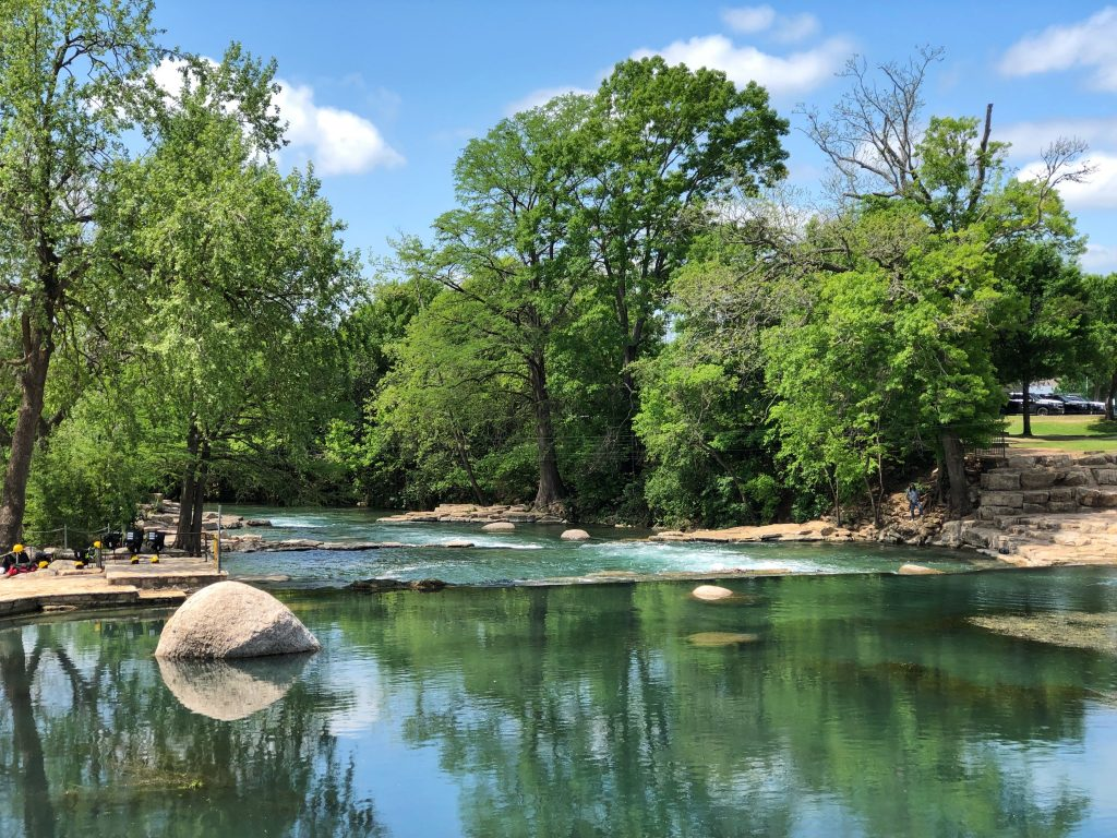 San Marcos River Texas as seen from the water on a summer day