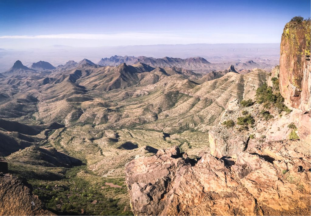 View of the desert from the south rim trail in big bend np, one of the best hiking trails in texas