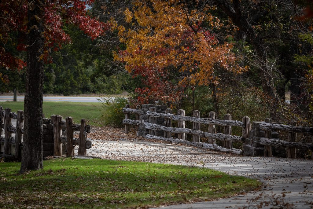 Bridge in Cleburne State Park in the fall, where people go hiking near Dallas TX