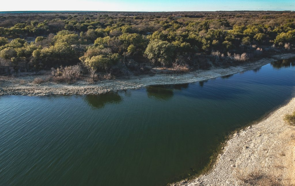 Lake Whitney as seen from above, one of the best lakes in Texas to visit