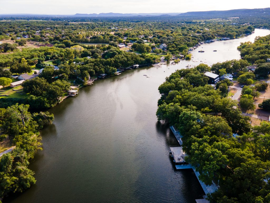 lake lbj as seen from above, one of the most popular texas lakes to visit