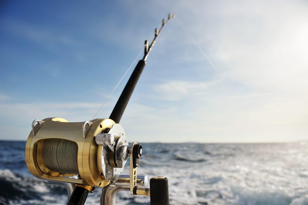 Deep sea fishing rod set up overlooking the ocean