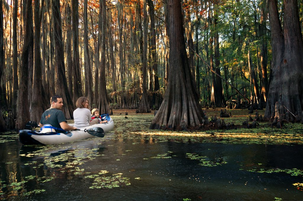Family in an inflatable kayak paddling through the cypresses in Caddo Lake State Park TX
