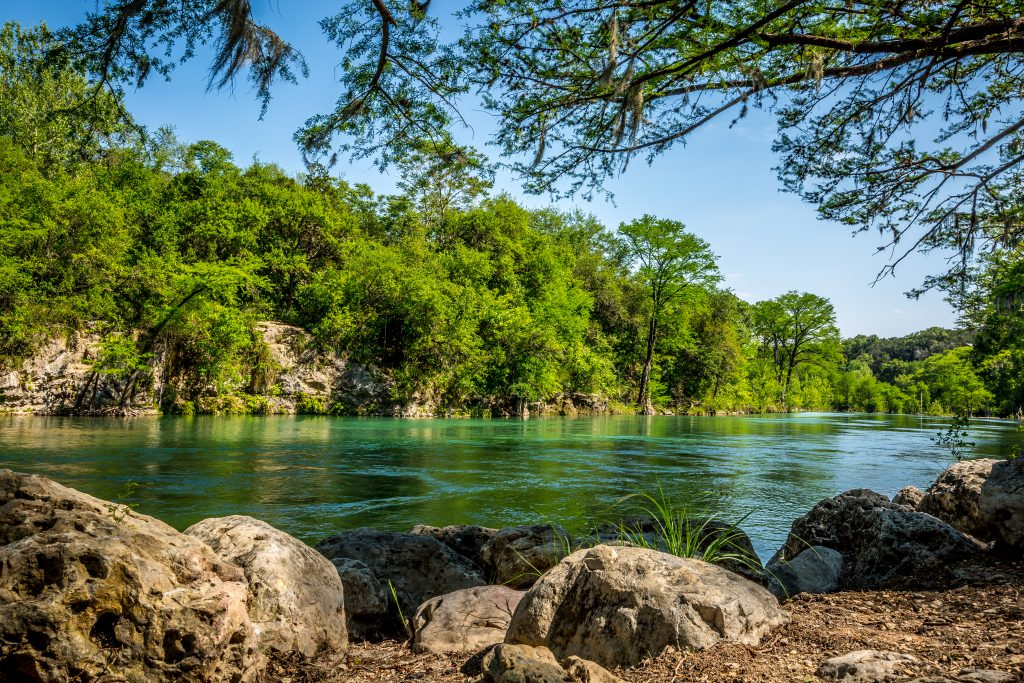 Guadalupe River in New Braunfels, one of the best stops when driving from Austin to San Antonio Texas