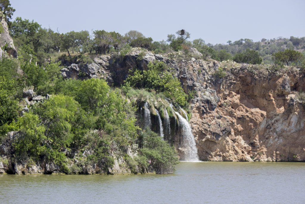 Waterfall at Lake Buchanan Texas as seen from the water