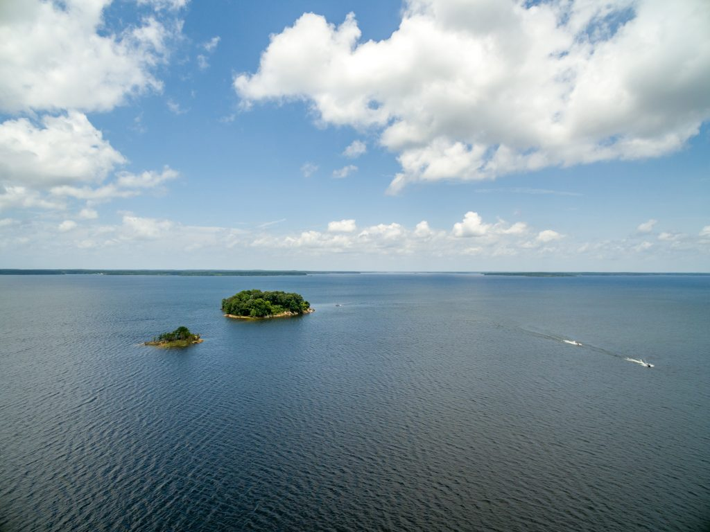 Lake Sam Rayburn as seen from above with 2 small islands visible in the distance. Lake Sam Rayburn is one of the best lakes in Texas
