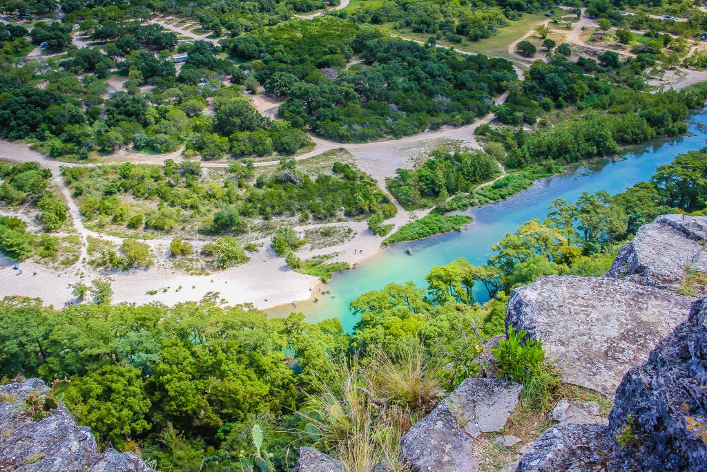 view of the frio river in garner state park from above