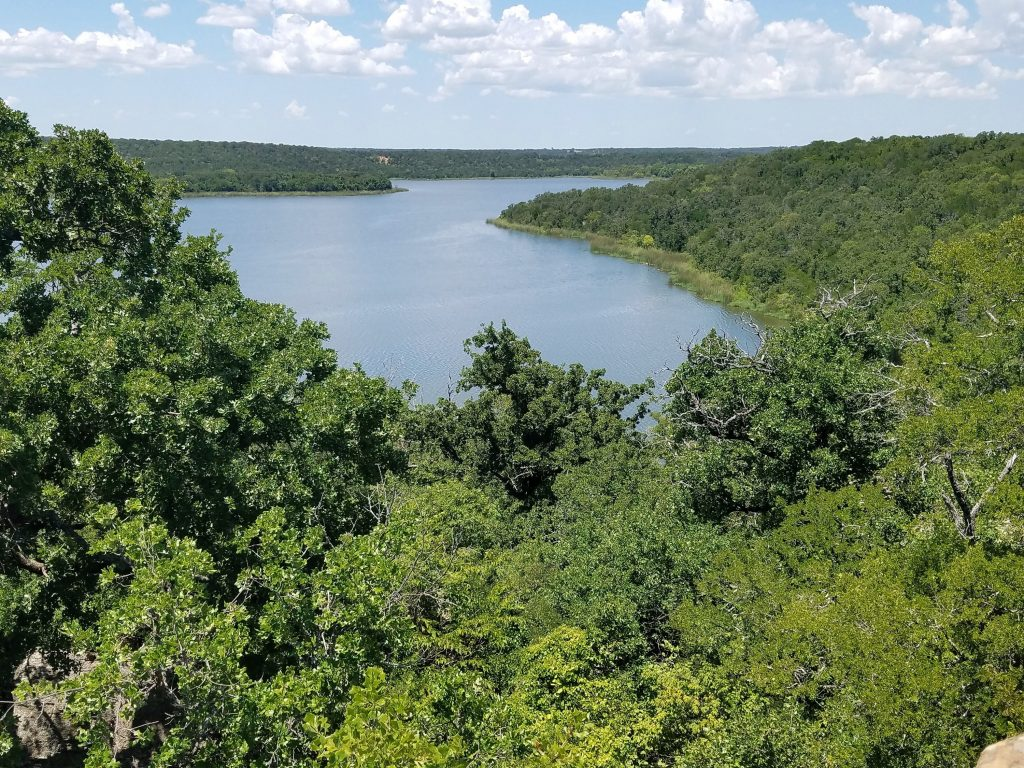 Lake Mineral Wells as seen from above at an overlook, home to some of the best hikes near Dallas