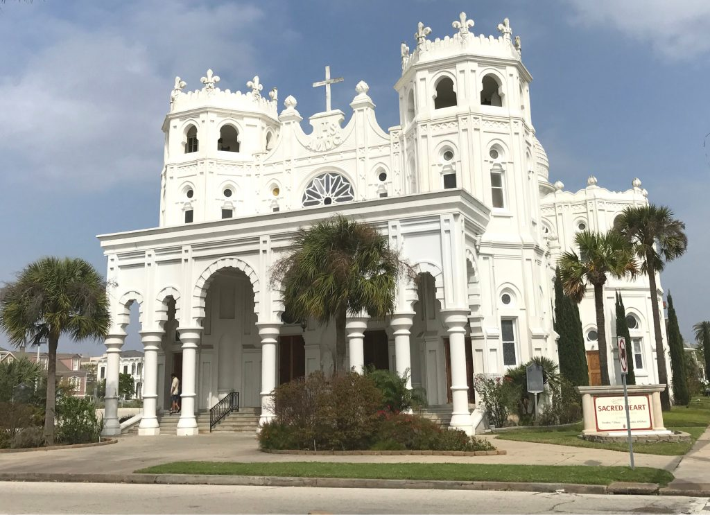 Sacred Heart Church with its distinctive white architecture, one of the best places to visit in Galveston tx