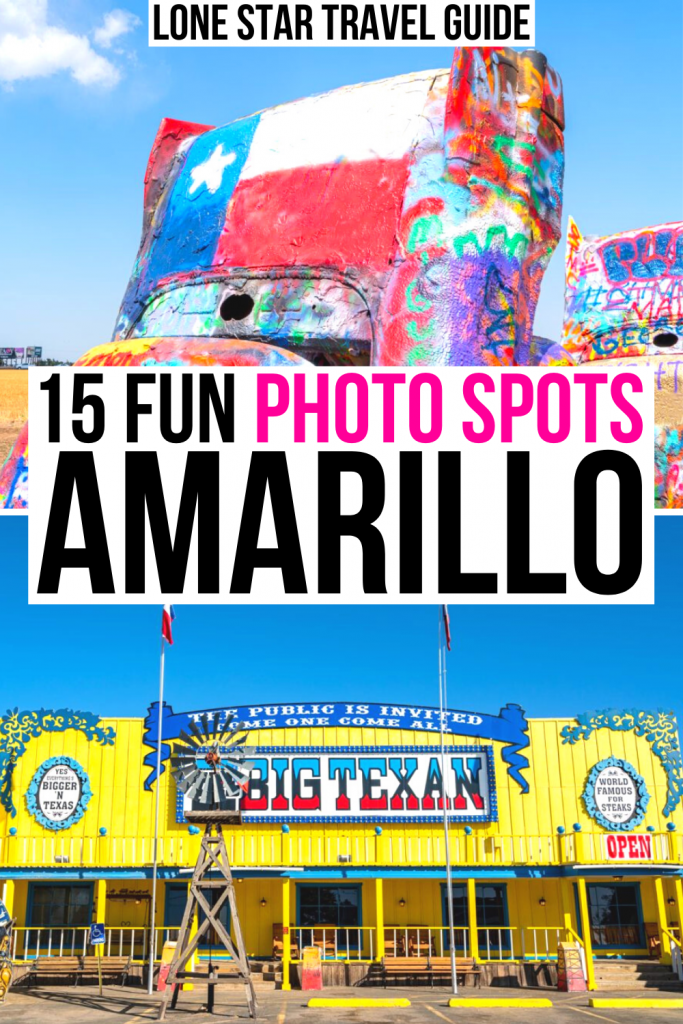 "2 photography locations in amarillo pictures, cadillac ranch and big texan steak ranch. black and pink text on a white background reads ""15 fun photo spots amarillo"""