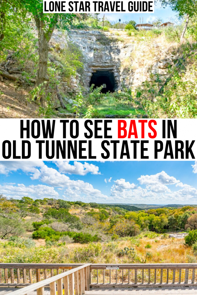 "two photos of old tunnel state park--the old tunnel on top and upper viewing area on bottom. black and red text reads ""how to see bats in old tunnel state park"""