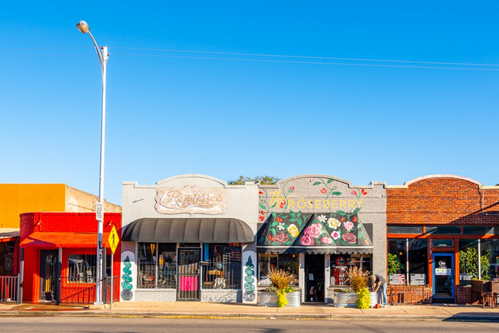 Shops lining historic route 66 in amarillo, one of the most instagrammable amarillo photo spots