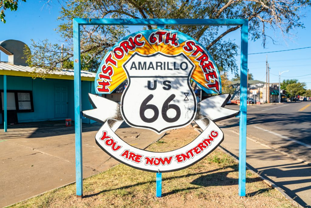Colorful sign for historic 6th street, one of the best places to visit in amarillo tx