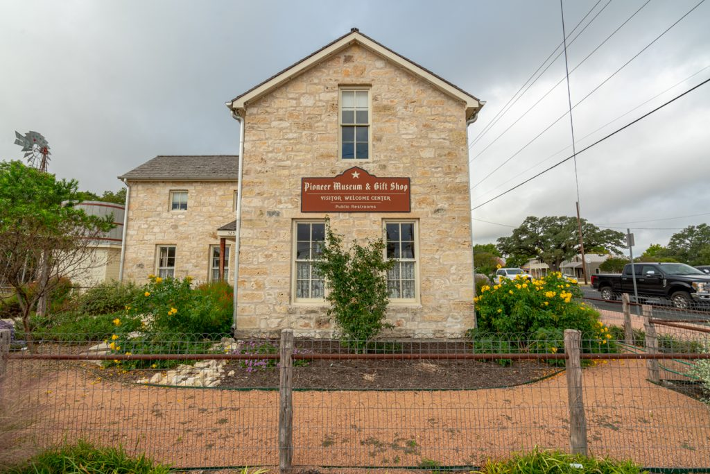 front facade of pioneer museum in fredericksburg, one of the best texas historical sites
