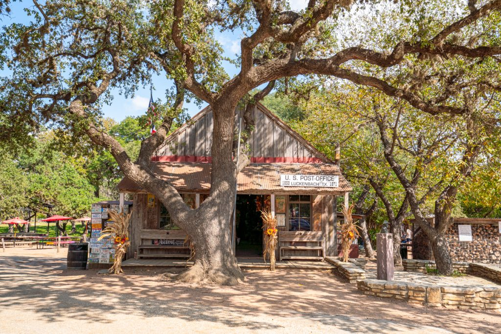 front facade of luckenbach post office, an excellent stop on short road trips from houston to the texas hill country