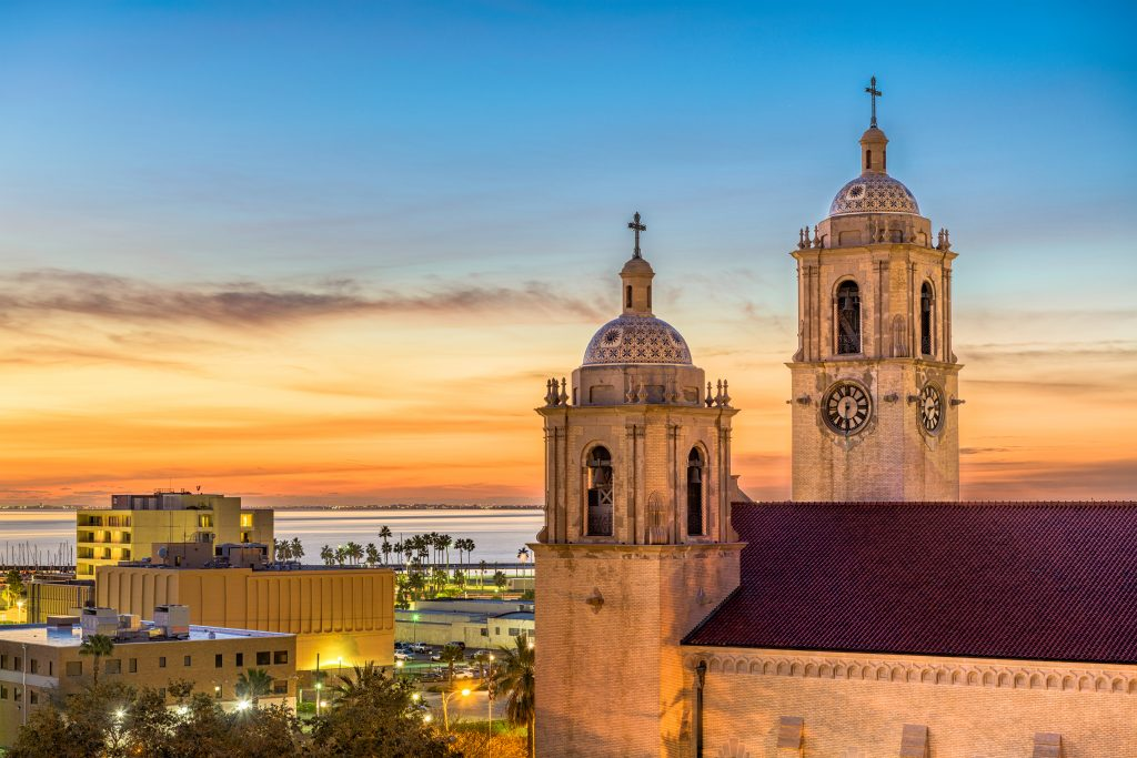 Exterior of the Corpus Christi Texas cathedral at sunrise, one of the best corpus christi attractions