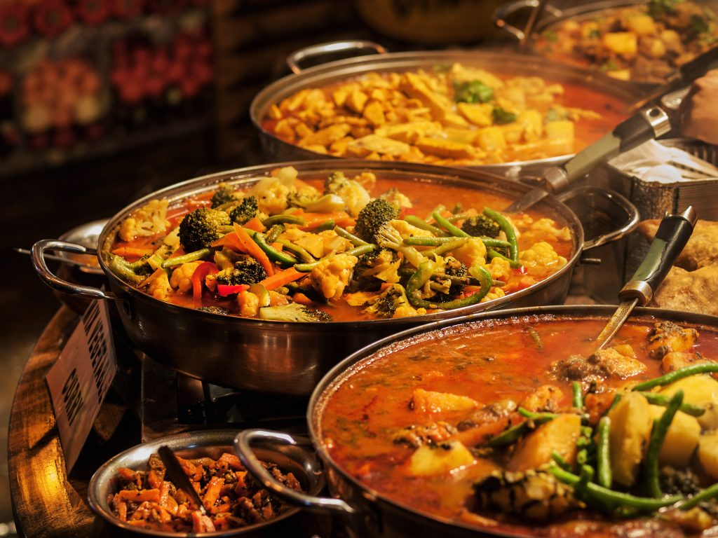close up of an indian buffet. there are several great indian restaurants in dallas with a buffet option
